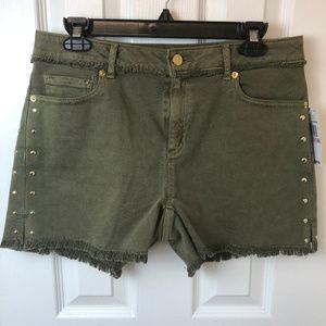 NWT Michael Kors Olive green raw edge jean shorts.